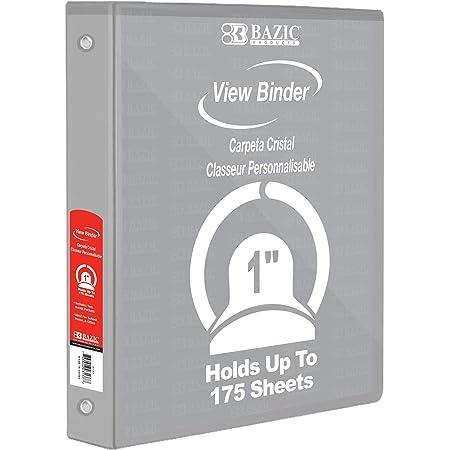 Case of 12 BAZIC 1 Grey 3-Ring View Binder w// 2-Pockets 4121-12