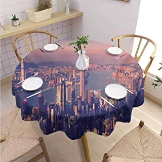 Multifunctional Round Tablecloth City Decorated Restaurant Dreamy View of Chinese City Hong Kong Urban Scene Concept Victoria Harbor,Round - 67 inch Pale Pink Night Blue