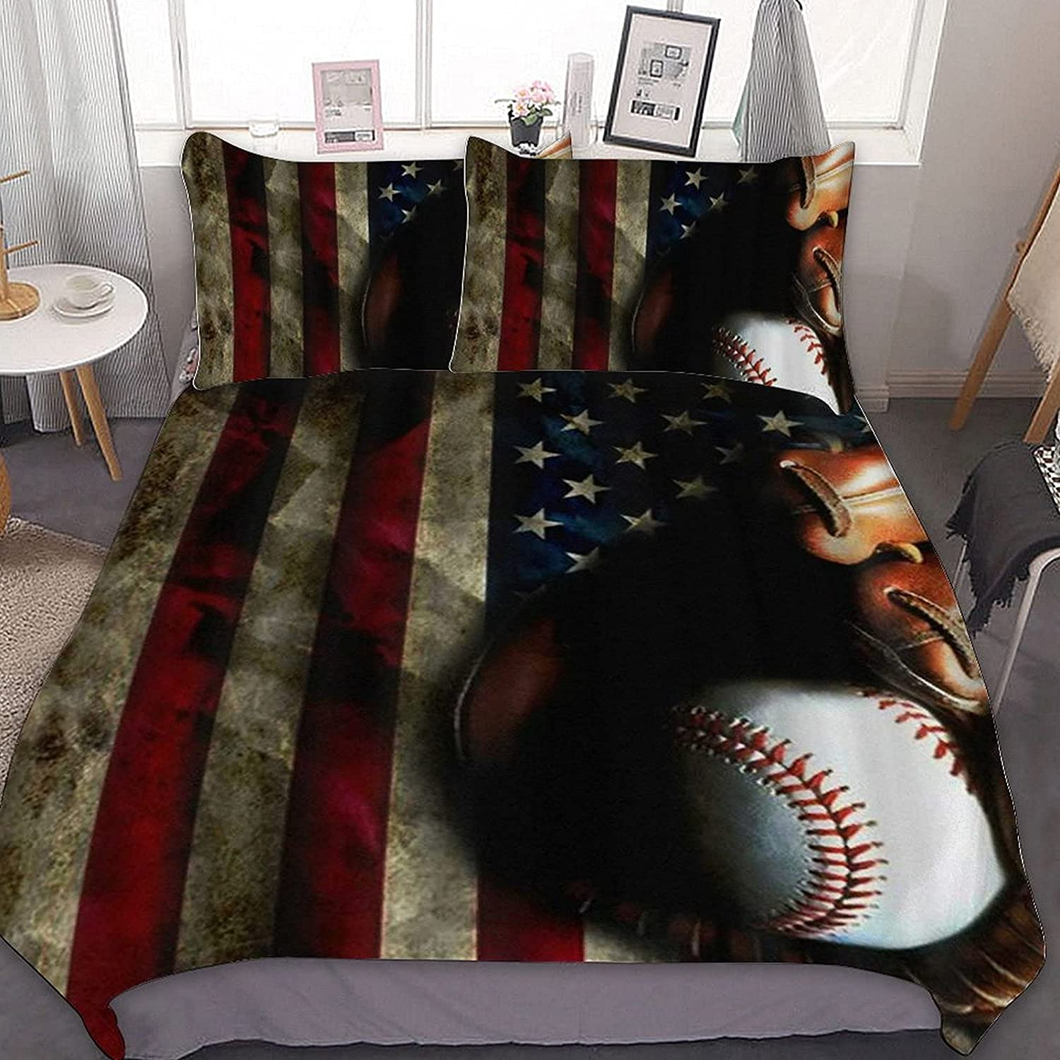 PNNUO Vintage US Flag Baseball Queen Manufacturer regenerated product Size Max 46% OFF Set King Twin Bed Full