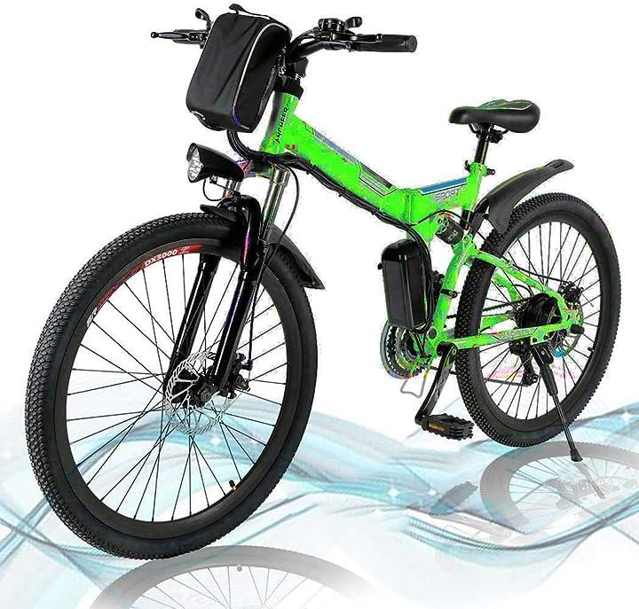 Mountain bike elettrica pieghevole,  da strada a sospensione completa con freni a disco hesyovy B09124K6CD