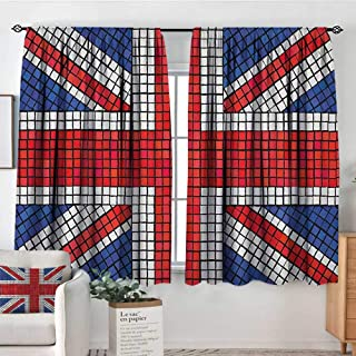 Insulated Sunshade Curtain Union Jack,Mosaic Tiles Inspired Design British Flag National Identity Culture, Royal Blue Red White,Darkening and Thermal Insulating Draperies 42
