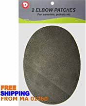 Two Large Sew-On Natural Suede Elbow Patches 4.75 in x 6.5 in - Charcoal