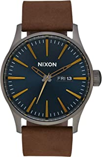 Reloj Nixon A1052984 Sentry Leather Gunmetal/Indigo/Brown