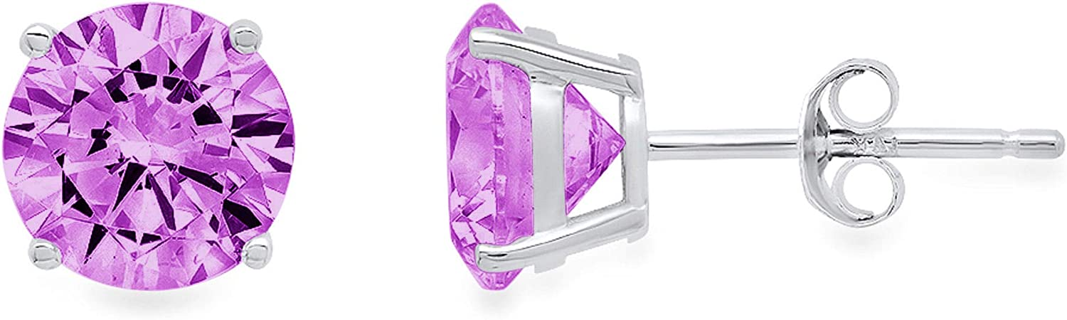 4.0 ct Brilliant Round Cut Solitaire Flawless Genuine Simulated CZ Purple Alexandrite Gemstone VVS1 Ideal Pair of Designer Stud Earrings Solid 14k White Gold Push Back