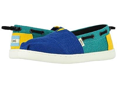 TOMS Kids Bimini (Little Kid/Big Kid) (Indigo Blue Blocked Heritage Canvas) Kids Shoes