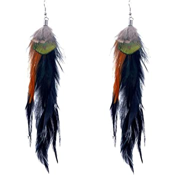 Zad Boho Layered Feather Drop Dangle Hook Earrings For Women Teens Girls