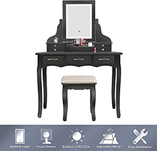 LED Vanity Table,7 Drawers Makeup Dressing Table with Cushioned Stool-Black
