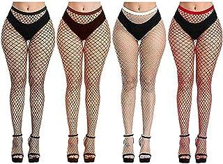 88AMZ, 4 Pares Mujeres Sexy Elástico Medias de Cintura Alta Medias de Rejilla de Calcetines Medias de Malla Pantimedias