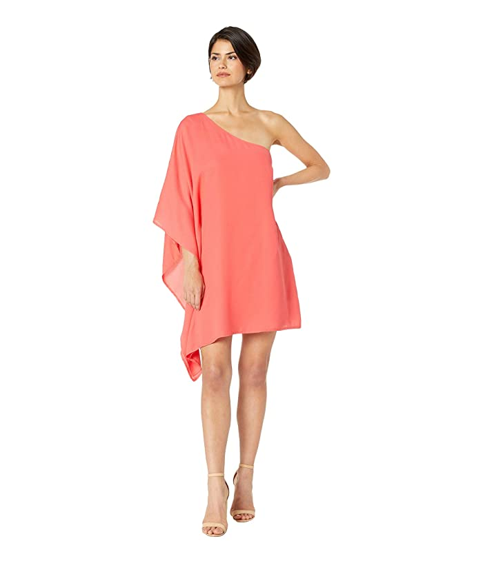 Cupcakes and Cashmere Deliz Crepe One Shoulder Cape Sleeve Dress (Hibiscus) Women
