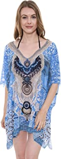 Women's Summer Leopard Topper/Cover-Up/Poncho/Kimono Rhinestone Outwear Beachwear Dress