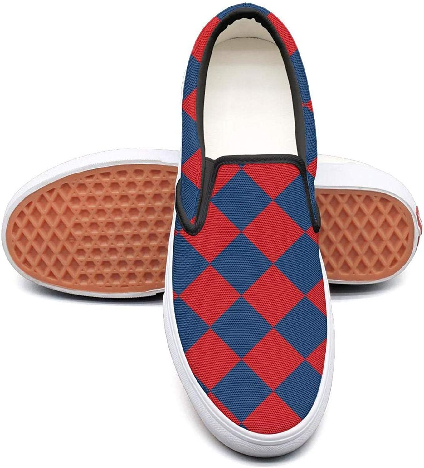 bluee Red Chess Board Diamond Slip On Rubber Sole Sneakers Canvas shoes for Women Casual