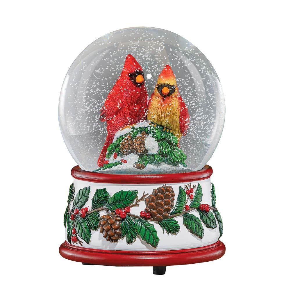 Image of Beautiful Red Cardinal Musical Christmas Snow Globe