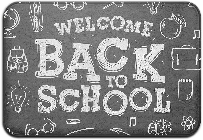 BINGOING MAT Welcome Back to School with Red Apple Indoor Outdoor Entrance Printed Rug Floor Mats shoes Scraper Doormat for Bathroom, Kitchen, Balcony, Etc 16 X 24 inch