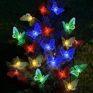 SanGlory Catene Luminose Solare 20 LED Farfalla 4.8M Luci da Giardino Multicolore, Luci Stringa Solari Impermeabili, Luce ...