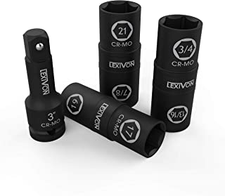 LEXIVON Impact Socket Set, 6 Total Lug Nut Size   Innovative Flip Socket Design Cover Most Commonly Inch & Metric Used Sizes   Cr-Mo Steel = Fully Impact Grade (LX-111)