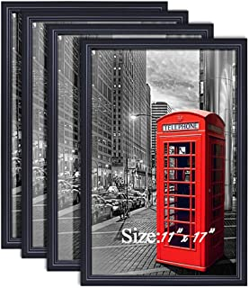 PETAFLOP 11x17 Poster Frames Black Wall Mounting Picture Frame for 11x17 inch Poster, Set of 4