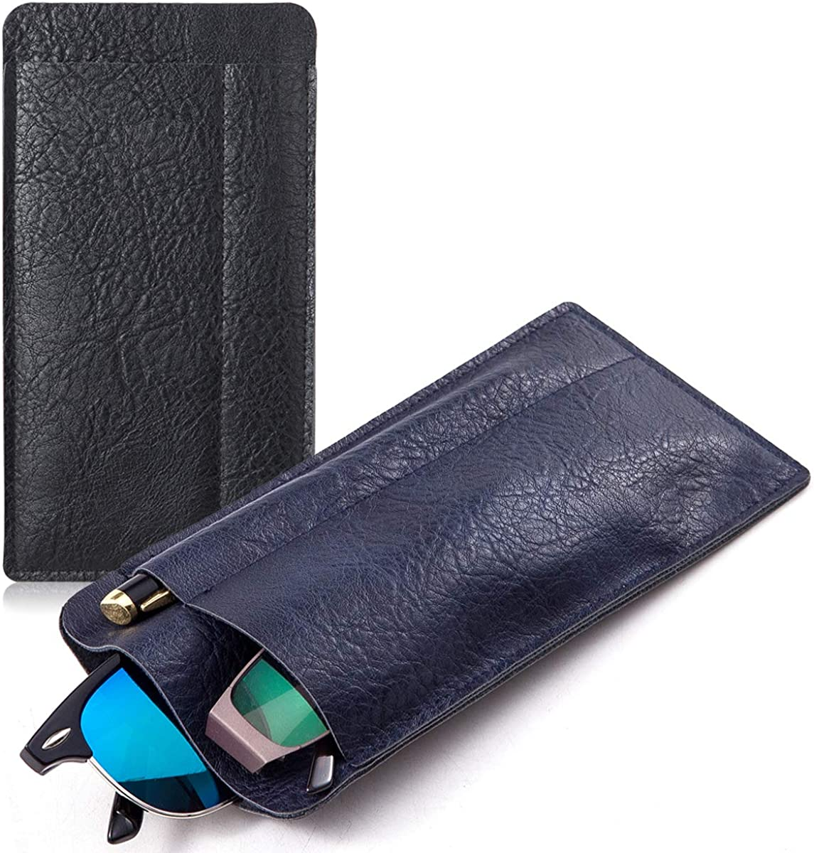 Double Eyeglasses and Sunglasses Pouch, Lightweight Travel Size Glasses Cover Phone Pouch Pen Sleeve