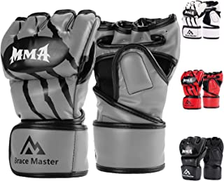 Brace Master MMA Gloves UFC Gloves Boxing Gloves for Men Women Leather More Paddding Fingerless Punching Bag Gloves for Kickboxing, Sparring, Muay Thai and Heavy Bag