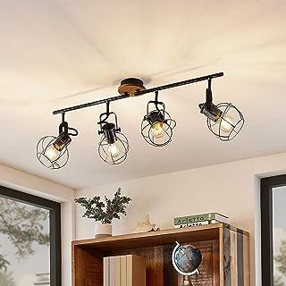 Antike Flur Decken Leuchte Glas Bernstein Optik Lampe Retro Design Strahler