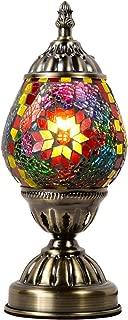 Marrakech Turkish Table Lamp Mosaic Glass Egg Bedside Lamp Moroccan Lantern Desk Night Light Light with Bronze Base for Living Room