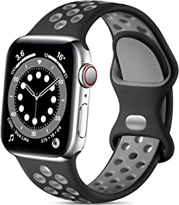 Lerobo Sport Bands Compatible with Apple Watch Band 41mm 40mm 38mm,Stylish Breathable Soft Silicone Sport Replacement Strap Compatible for iWatch SE Series 7 6 5 4 3 2 1 for Women Men,Black/Gray,M/L
