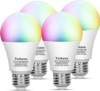 Torkase Smart Wi-Fi LED Light Bulb, 2700K to 6500K Dimmable, 16 Million Multicolor A19 Lighting Bulbs, 7-Watt(60-Watt Equivalent), Compatible with Amazon Alexa, Google Home, IFTTT (2.4 Ghz) -4 Pack