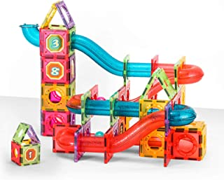 FUNTECH Magnetic Tiles, Magnetic Pipe Blocks, Marble Run STEM Building Set, 110Piece, Gift for Children Boys and Girls