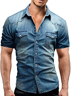 Realdo mens Denim Shirt,Casual Slim Fit Button Short Sleeve Tops Jeans Polo Shirt with Pocket