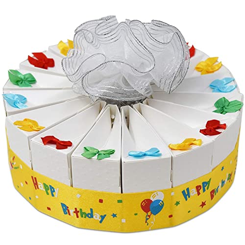 1 Tier Happy Birthday Favor Bags Cake Kit 2 Pack Includes 20 Boxes White