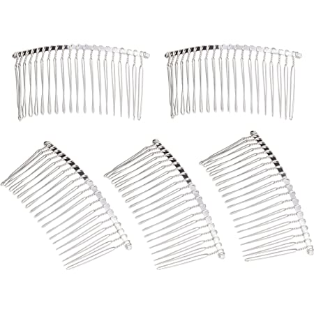 5 Pieces 20 Teeth Hair Clip Combs Metal Wire Hair Combs Wire Twist Bridal Wedding Veil Combs(Silver)