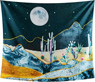 INTHouse Cactus Tapestry Wall Hanging Desert Starry Night Tapestry Psychedelic Cactus Decor Moon Night Cactus Plant Tapestry Trippy Wall Tapestry for Bedroom Dorm Room