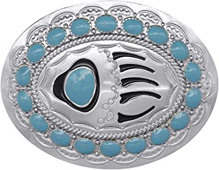 YOQUCOL American Western Vintage Bear's Paw Shape Imitation Turquoise Silver Belt Buckle