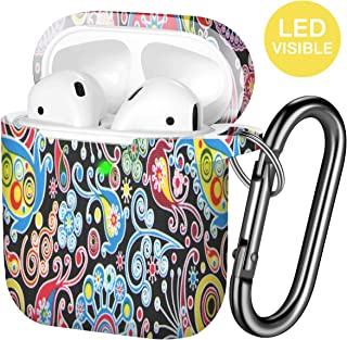 Hamile AirPods Case Protective Cover, [Front LED Visible] Fadeless Pattern Silicone Shockproof Case Cover Compatible for Apple Airpods 1 & 2, with Carabiner (Colorful Jellyfish)