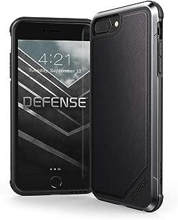 iPhone 8 Plus, iPhone 7 Plus, iPhone 6 Plus Case, X-Doria Defense Lux Series - Military Grade Drop Tested Case for Apple iPhone 8 Plus, 7 Plus, 6 Plus (Black Leather) (Renewed)