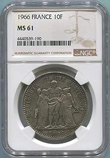 1966 FR France 10 Franc MS61 NGC