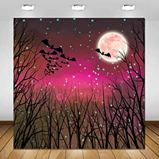 COMOPHOTO 6x6ft Halloween Photography Backdrop Skeleton Bats Purple Red Scary Night Full Moon Party Photo Booth Background...