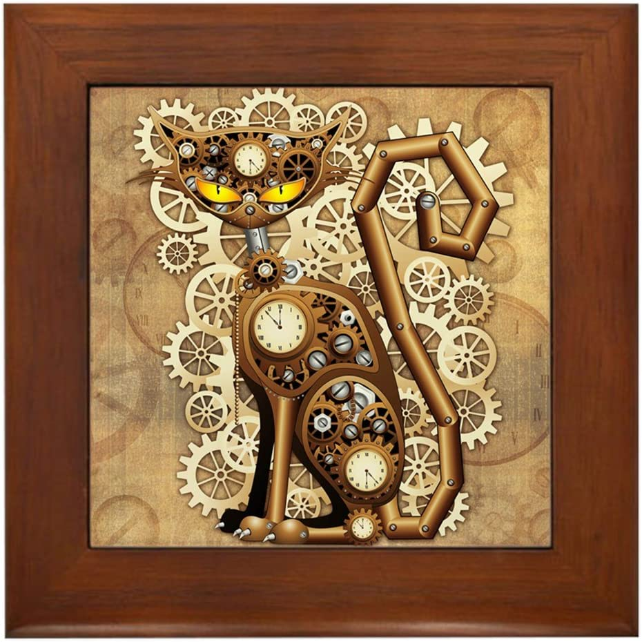 CafePress Steampunk Max 69% OFF Cat Vintage Style Framed Decorative Gifts Tile Ti