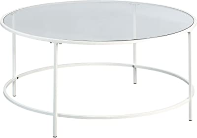 "Sauder Anda Norr Round Coffee Table, L: 35.98"" x W: 35.98"" x H: 16.5"", White"