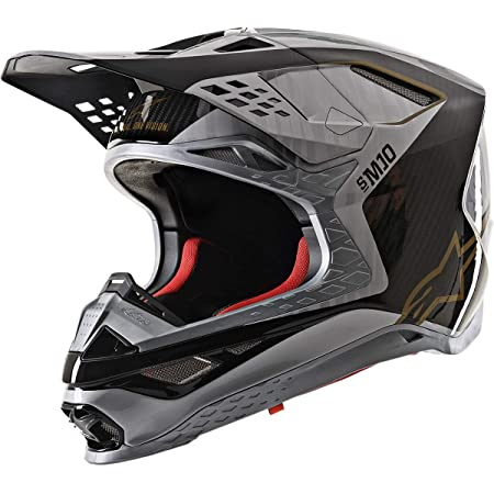 Alpinestars 8301720-1909-XS Unisex-Adult S.Tech S-M10 Alloy Helmet Silver/Black/Carbon/Gold Xs (Multi, one_size)