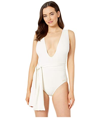 Vince Camuto Belted Plunge V-Neck One-Piece with Removable Soft Cups (Sand) Women