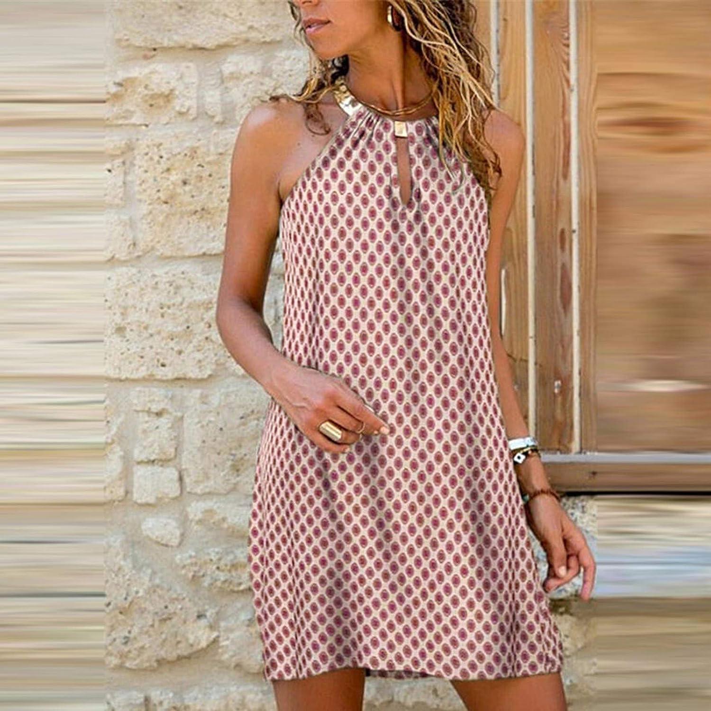 Oiumov Summer Dresses for Women Sexy A-line Loose Mini Dress Party Casual Beach Sundress Loose Boho Dress Cami Dress