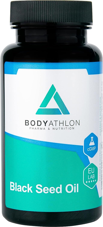 Bodyathlon– Black Seed Oil– Aceite Comino Negro- Nigella Sativa 1000mg- Prensado en frío- Concentrado de Omega 3,6,7 y 9– Salud cardiovascular- Protección del organismo- Cuidado del cabello y la piel
