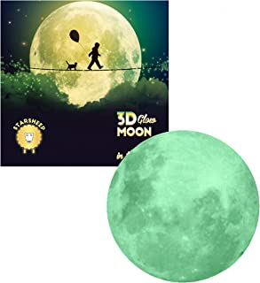 Glow in The Dark Stars with Glow Moon Decal Wall Stickers - Glowing Stars Wall Decor - Galaxy Space Glow Stars for Bedroom...