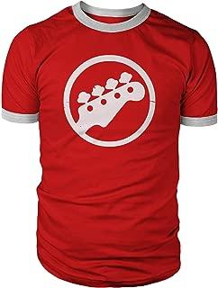 Bass Logo Ringer Shirt, White Distressed Print on Red Cotton Shirt & White Rings