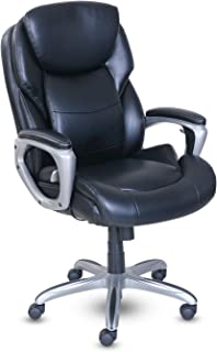 Serta My Fit Executive Office Active Lumbar Support, Adjustable Ergonomic Computer Chair with Layered Cushions, Bonded Leather, Black
