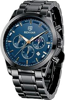 BENYAR Fashion Men's Quartz Chronograph Waterproof Stainless Steel Watches Business Casual Sport Design Wrist Watch for Men
