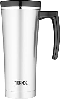Thermos Sipp Vacuum Insulated Stainless Steel Travel Mug, 470ml, Black Trim, NS100BK004AUS