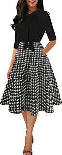 Women's Chic Stripe Dot Patchwork Pockets V-Neck Work Swing Dress with Bow-Knot SK278