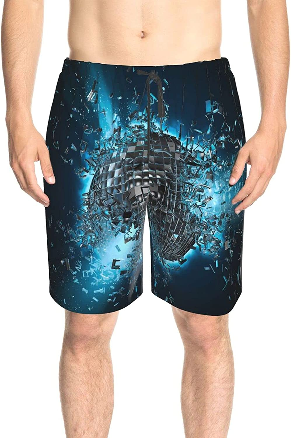Mens Bathing Suits Disco Ball Explosion Bathing Suit Boardshorts Quick Dry Cool Swimwear Beach Shorts with Pockets