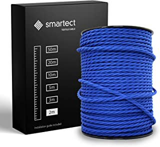 smartect Cable para lámparas de tela en color Azul Marino - Cable textil trenzado de 2 Metro - 3 hilos (3 x 0,75 mm²) - Cable de luz con revestimiento textil